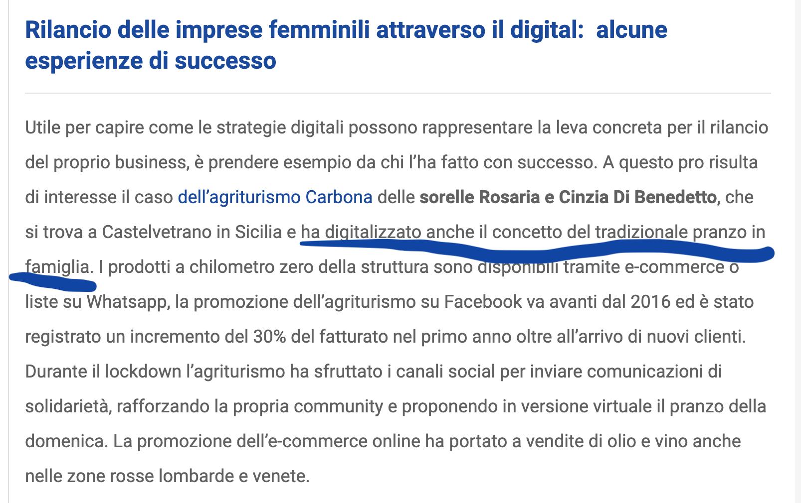 Coronavirus, la situazione delle PMI femminili in Italia e il ruolo del digitale: caso Agriturismo carbona